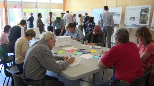 Many people gathered at the Alfred H. Savage Centre to provide feedback about the Terwillegar Park footbridge.