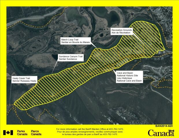 Banff grizzly bear warning map