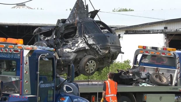 The impact of the collision with the Via Rail train near Saint-Liboire severed the SUV in two.