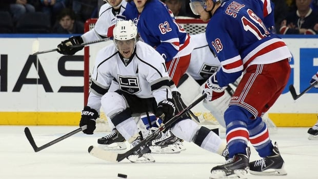 Centre Anze Kopitar, left, is a Selke Trophy finalist for top defensive forward honours because of his stellar-two way play and also leads the Kings in scoring in the playoffs with 24 points in 21 games.