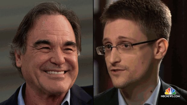 Director Oliver Stone, left, is working on a screenplay for a film that will focus on former National Security Agency contractor Edward Snowden's sharing of documents about America's surveillance program with journalists.