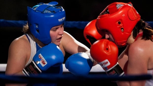 Ariane Fortin, left, will compete in the 75-kilogram weight class in Glasgow, Scotland, at next month's Commonwealth Games. The seven-time national champion from St. Nicholas, Que., headlines the seven-boxer Canadian roster.