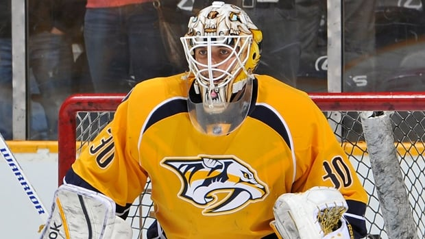 Carter Hutton posted a 20-11-4 record with a 2.62 GAA in 40 games, including 34 starts, for the Predators this past season.