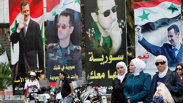 Syria's embattled dictator Bashar al-Assad has been in a brutal civil war for three years now, but you wouldn't know it by the campaign photos along a Damascus street.
