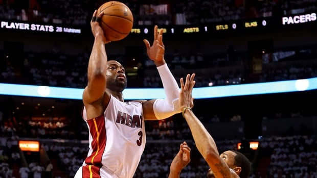 Dwyane Wade (3) of the Miami Heat is averaging 18.7 points, 4.3 assists, 3.9 rebounds and 34.7 minutes in 15 playoffs starts.