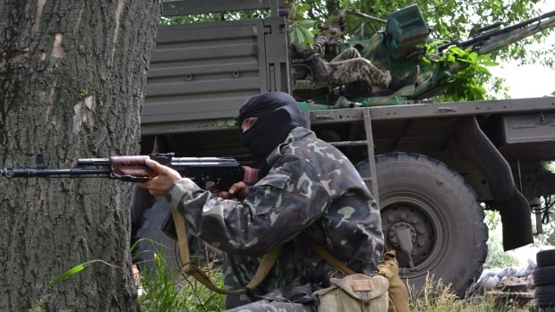 Pro-Russian militants clashed with Ukrainian government forces near a military outpost in the eastern city of Luhansk Wednesday. The 10-hour battle ended after Ukrainian forces ran out of ammunition and withdrew from the area.