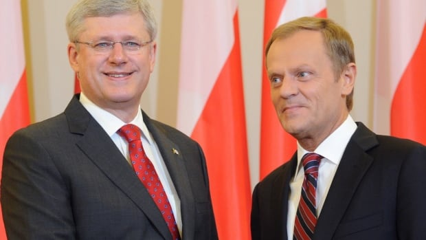 Stephen Harper arrived in Poland Wednesday for a meeting with Polish Prime Minister Donald Tusk. Harper used the opportunity to condemn Russia's recent aggression in Ukraine and to voice his support for increased military cooperation between Canada and the Eastern European country.