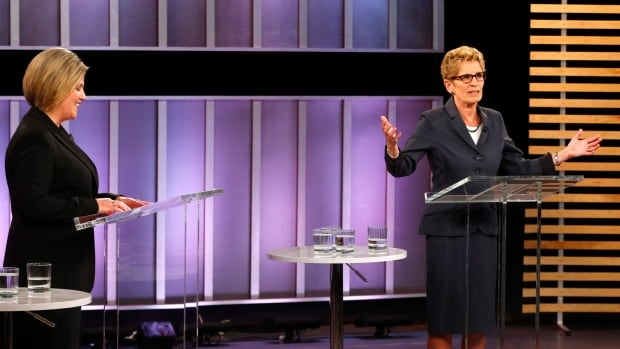 NDP Leader Andrea Horwath, left, and Liberal Leader Kathleen Wynne were the only two to mention health care Tuesday during the leaders debate.