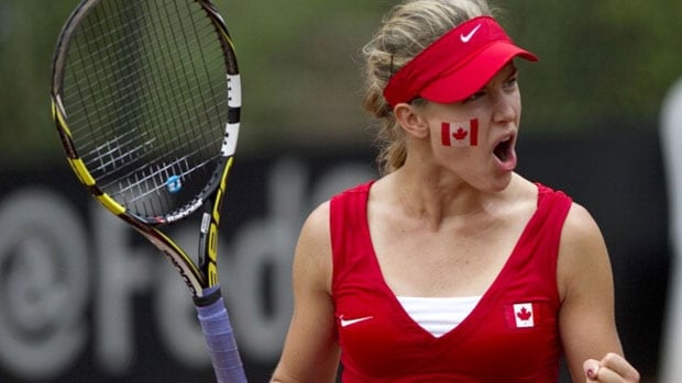 Montreal's Eugenie Bouchard anchored the Canadian victory over Slovakia with a pair of singles victories in February.