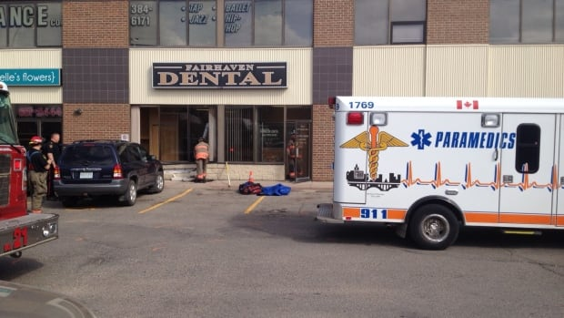 A car smashed through the front windows at a Saskatoon dental office