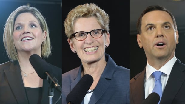From left, Ontario NDP Leader Andrea Horwath has a gruelling schedule of events planned for today, while Liberal Leader Kathleen Wynne and PC Leader Tim Hudak will also be out on the campaign trail in key ridings ahead of Thursday's election.