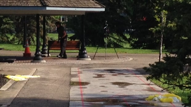 Police in Regina examine the scene of a violent assault that took place in Central Park early Wednesday morning.