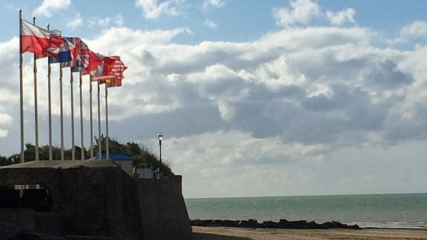 A line of flags of the countries that took part in the D-day landings stands on the Normandy coast near Juno Beach, where Canadian troops landed. This year marks the 70th anniversary of the D-day landings.