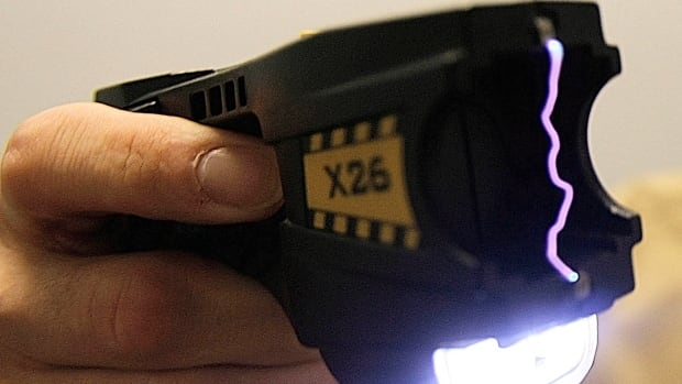 A stun gun, also known as a Taser, was used on the man, who had allegedly threatened to kill two officers.