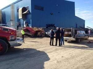 Fake car crash Inuvik 2014