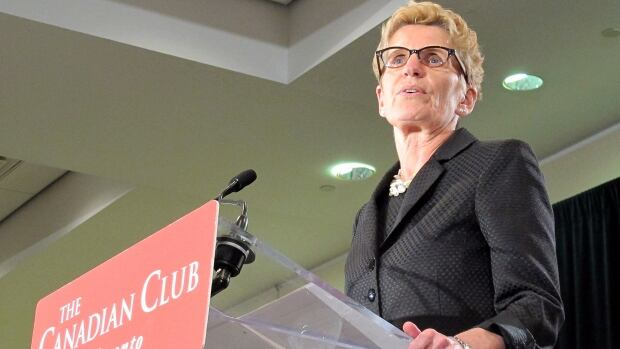 Liberal Leader Kathleen Wynne addresses the Canadian Club at a campaign stop in Toronto on June 5.