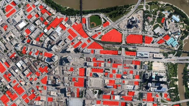 Winnipeg architect Brent Bellamy created this map, using Google Earth images, to show the number of surface parking lots (shown in red) in the city's downtown.