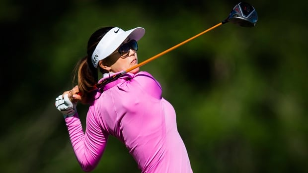 Michelle Wie hits a shot from the fifth tee box in the Manulife Financial LPGA Classic at Grey Silo in Waterloo, Ont., on Thursday.