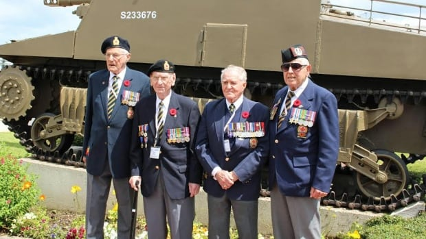 Edgar Bedard, far right is pictured with Neil Bell, Ted Paisley and Arthur Boon. The Normandy Campaign Vets were gathered in Normandy, France.