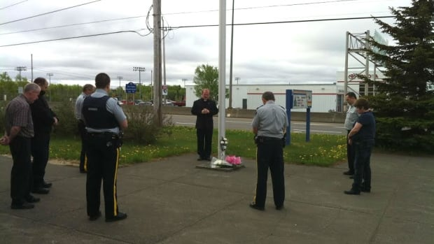 RCMP Rev. Randy Lockyear led a prayer ceremony in Grand Falls-Windsor Friday morning, to honour RCMP members who were killed, injured or affected in Moncton, N.B.