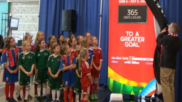 Mayor Jim Watson unveils the countdown to the FIFA Women's World Cup Canada 2015, which begins on June 6, 2015, at the new Lansdowne Stadium.