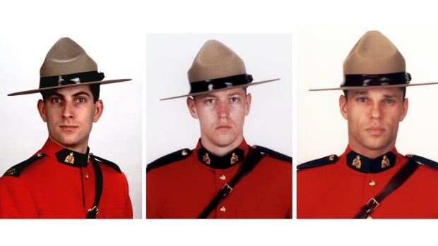 From left, Const. Douglas James Larche, 40, from Saint John, N.B., Const. Dave Joseph Ross, 32, from Victoriaville, Que., and Const. Fabrice Georges Gevaudan, 45, from Boulogne-Billancourt, France, were killed in Moncton, N.B. on June 4 this year.