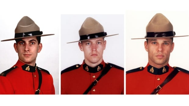 From left, Constables Douglas James Larche, Dave Joseph Ross and Fabrice Georges Gevaudan. All three were killed in Moncton, N.B. on June 4, 2014
