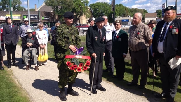 Winnipeg Norm Donogh, 91, attended the event a Vimy Ridge Park. He landed on the beaches of Normandy on D-Day.