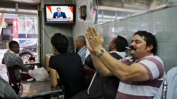 President Abdel-Fattah el-Sissi's swearing-in was broadcast on state television.