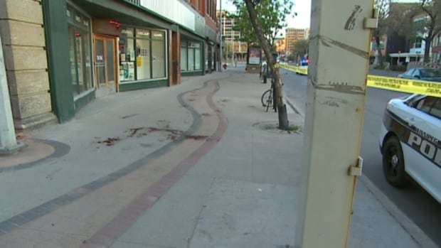 Winnipeg police say two men were waiting at a bus stop on Main Street near Logan Avenue on Saturday afternoon when they got into an argument that led to a stabbing.