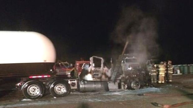 Tractor-trailer fire at propane facility