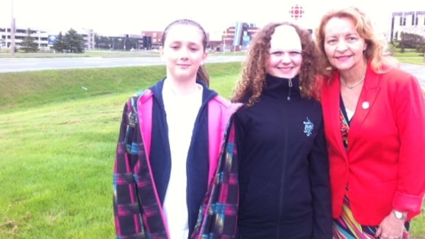 Grade 6 students Kathryn Cole & Maria Baker with their Assistant Principal Edwina Connors.