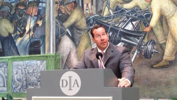 Reid Bigland of Chrysler helped announce that Detroit automakers are stepping into Detroit's bankruptcy picture by pledging $26 million US to help support retiree pensions while keeping the city's art treasures off the auction block.