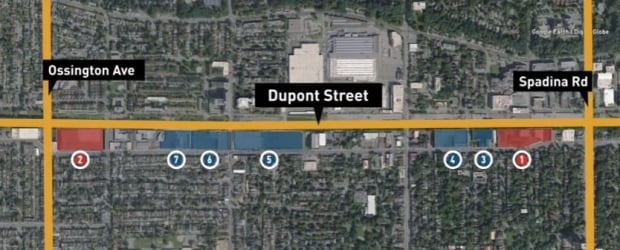 A map of developments along Dupont