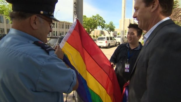 Michael Fougere is the first mayor in Regina's history to attend the pride flag raising.