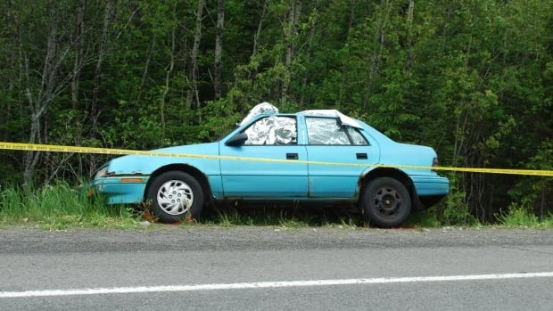 Quebec provincial police are investigating a double homicide in Routhierville, Que. after two bodies were found in this car abandoned along Highway 132.
