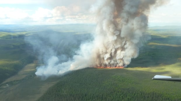 A 40 hectare fire burns 42 kilometres southwest of Stewart Crossing.