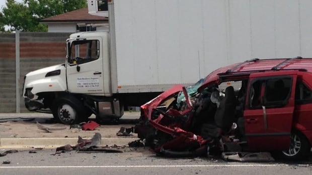 One person was in critical condition after a collision involving a truck and a van on the Queensway in Mississauga on Tuesday afternoon.