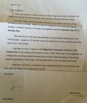 Letter received by Mariam Hamou in London North Centre