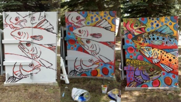 The stages of development of a utility box Mary-Leigh Doyle was commissioned to paint.
