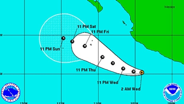 Hurricane Cristina is centred about 425 kilometres south of Manzanillo, Mexico, and is moving west near nine km/h.