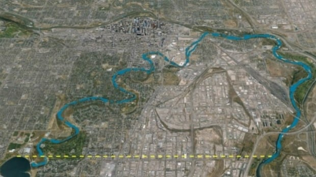 A rendering released by the province shows in yellow the proposed underground tunnel that would allow future flooding in the Glenmore Reservoir to be diverted eastward to the Bow River.