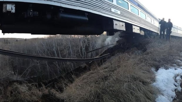 A Via Rail passenger train derailed and caught fire on April 28, 2013. However, the rail cars remained upright and no one was hurt.