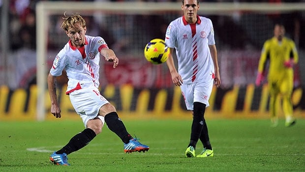 Ivan Rakitic, left, was Sevilla's captain.