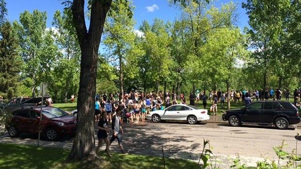 About 500 Calgary students at an end-of-year party in Canmore Park on Tuesday left behind a mess to be cleaned up.