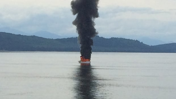 The vessel was engulfed in flames near Active Pass in B.C.'s Southern Gulf Islands, between Mayne and Galiano islands.