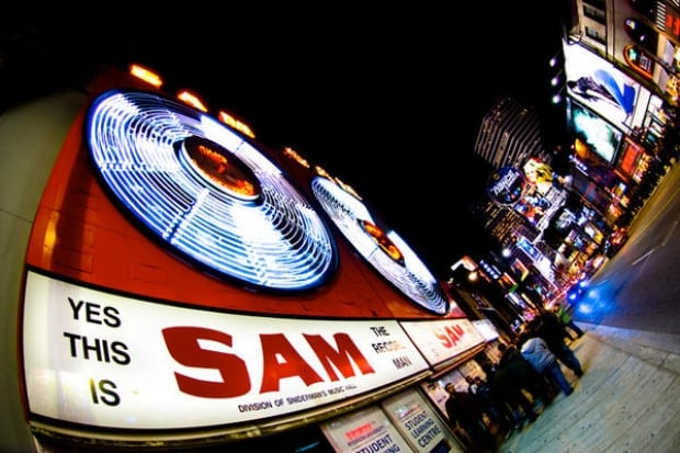 Sam's iconic sign may move a block south east of its original location.