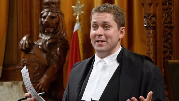 The speaker of the House of Commons Andrew Scheer stands during question period in the House of Commons on Parliament Hill in Ottawa on Tuesday, June 3, 2014.