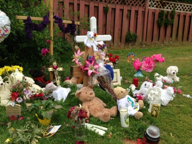 Roadside memorial for Dustin Mackenzie