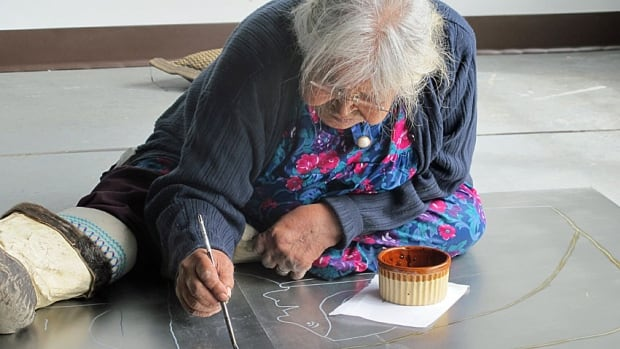 The last of the original Pangnirtung printmakers, Elisapee Ishulutaq, recently appointed to the Order of Canada, continues to draw her life-long memories on anything from foolscap to metal printing plates.